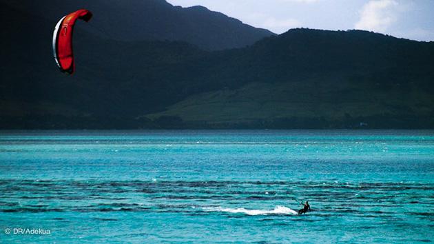 lagon paradisiaque pour le kitesurf à ile Maurice
