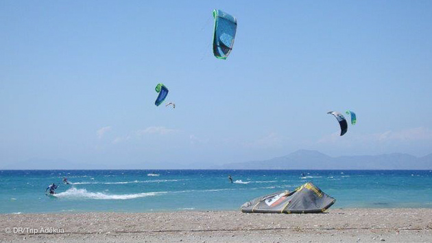 Session kite sur les spots de Rhodes