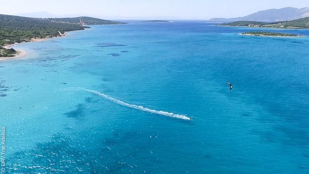 sans conteste un des plus beaux spots de kite de Grèce