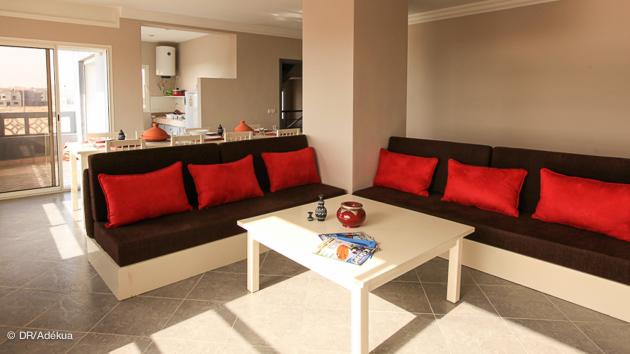 le salon de votre appartement pour vos vacances kite à Dakhla