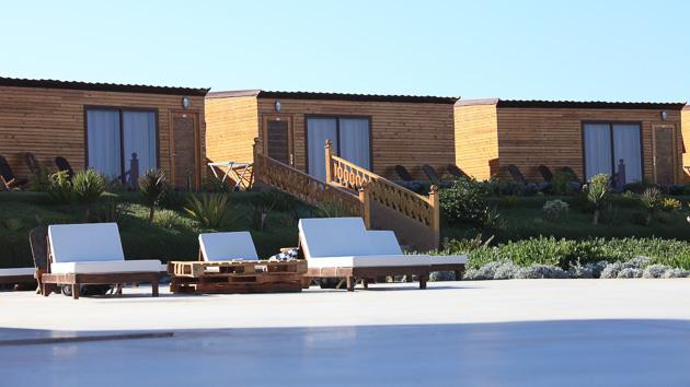 Des bungalows face au spot sur la lagune de rêve de Dakhla