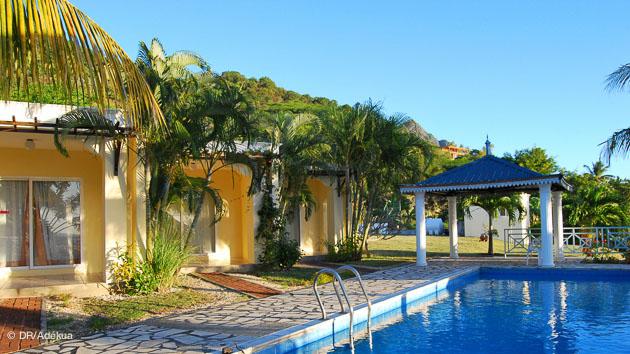 votre bungalow avec piscine pour vos vacances à l'ile Maurice et votre séjour kitesurf