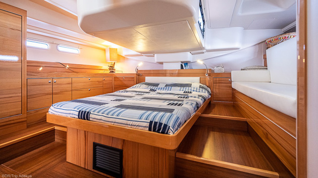 Cabines tout confort dans votre voilier de 17 mètres pour une croisière inoubliables à Formentera